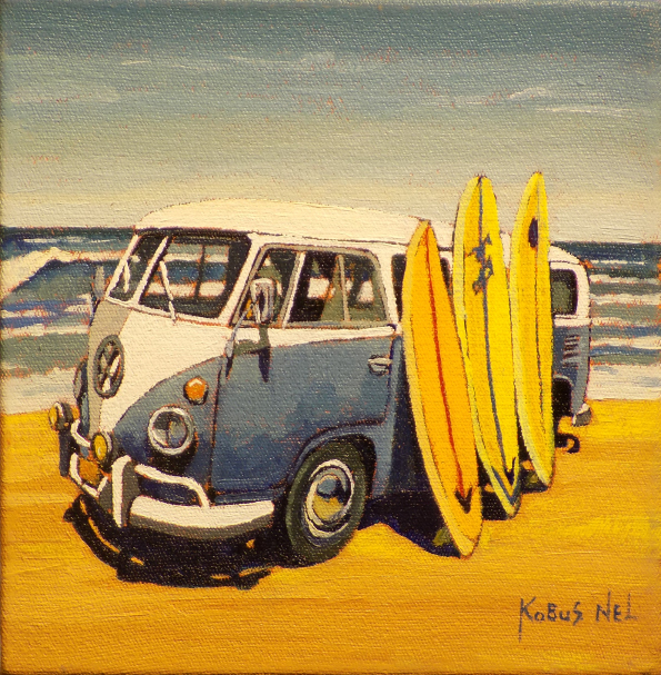 Blue & White Combi At Beach_20x20cm